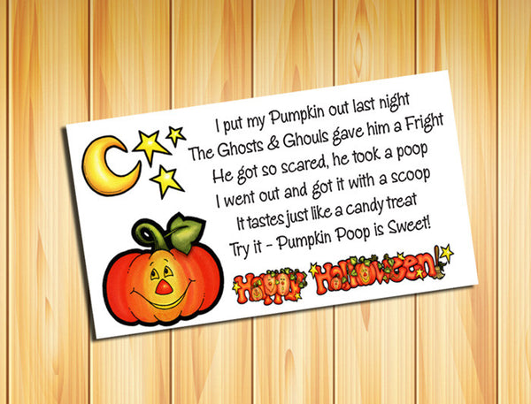 HALLOWEEN PUMPKIN POOP Goody Bag Tag Labels - Kids Love them - J & S Graphics