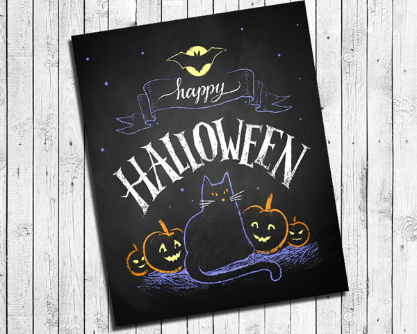 Happy Halloween Black Cat and Full Moon Instant Download Wall Decoration 8x10 Typography Art Faux Chalkboard - J & S Graphics