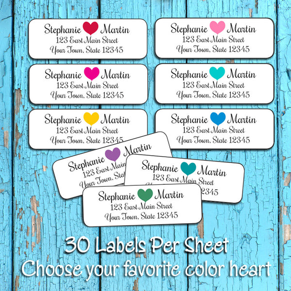Personalized Color Heart Return ADDRESS Labels - J & S Graphics