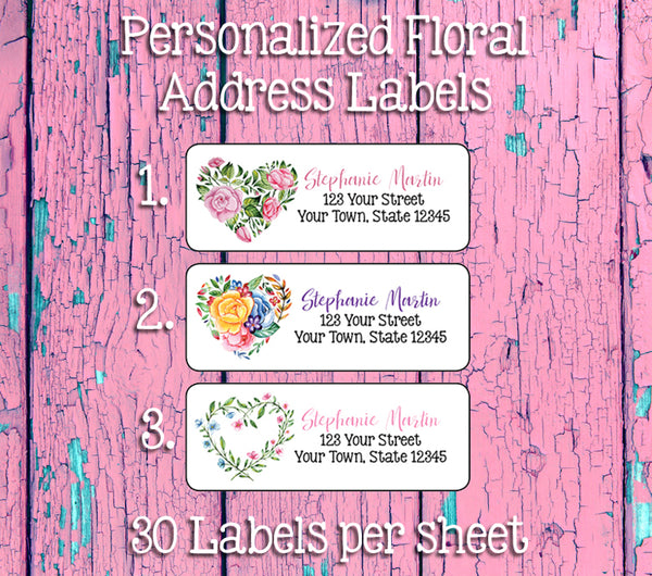 FLORAL HEARTS Personalized Address Labels, Flowers, Return Address Labels - J & S Graphics