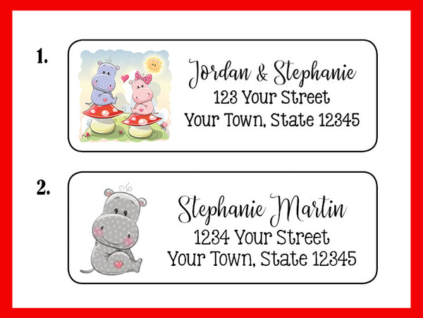 personalized hippos in love address labels return address labels
