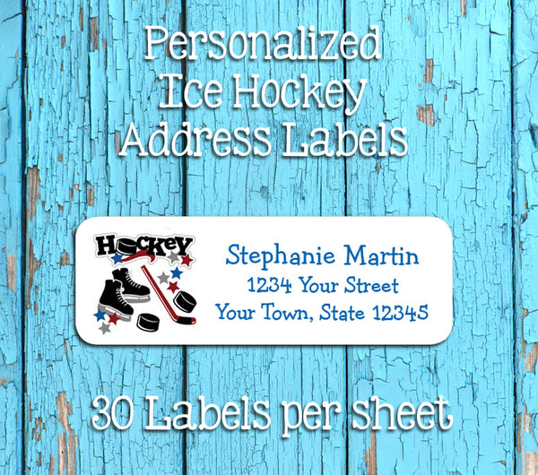 Personalized HOCKEY Design Return ADDRESS Labels - J & S Graphics
