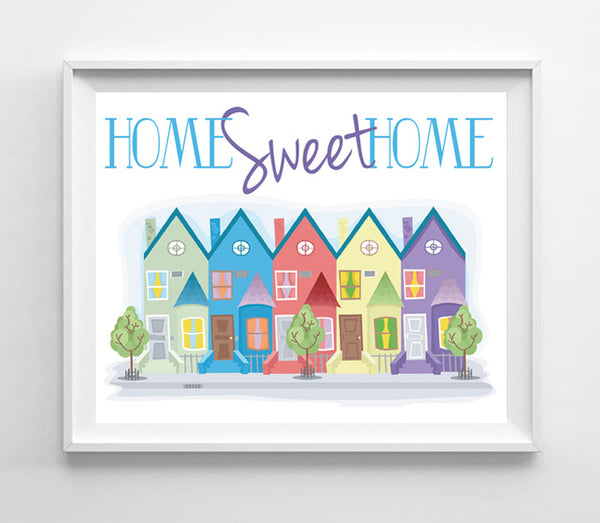 Home Sweet Home 8x10 Townhouse Design Wall Decor Art Print - J & S Graphics
