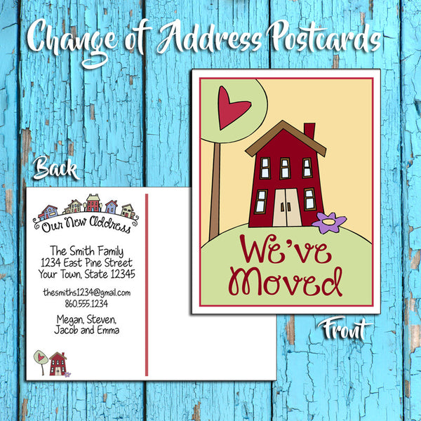 Personalized Change of Address Postcard - Cute House Design - Printed Option - J & S Graphics