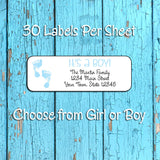 Personalized IT'S A BOY, IT'S A GIRL Return Address Labels, New Baby Labels - J & S Graphics