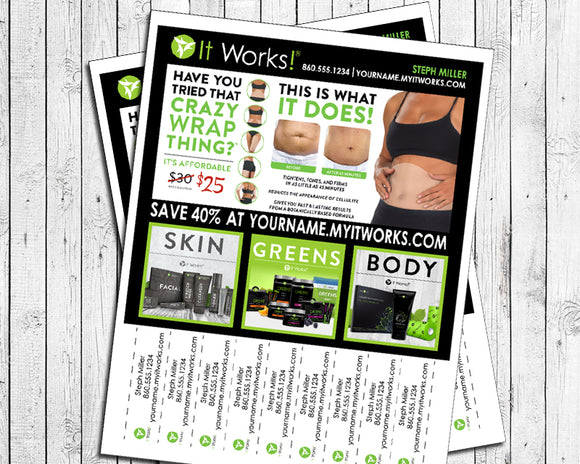 Personalized It Works Distributor Flyer with Tear Off Tabs - PDF - You Print - J & S Graphics