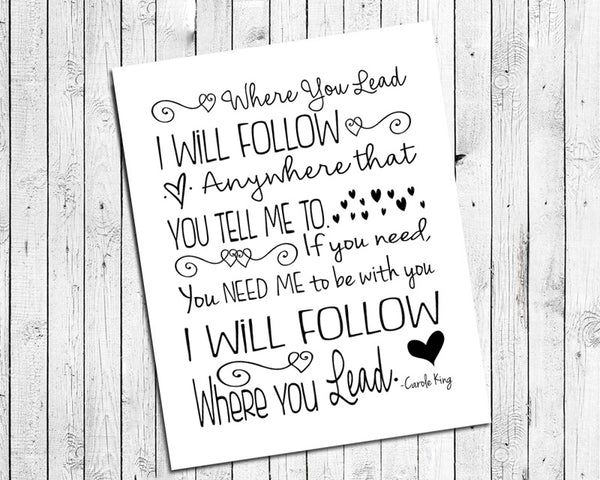 GILMORE GIRLS Print, Where You Lead I Will Follow 8x10 Wall Art PRINT, PRINT ONLY - NO FRAME - J & S Graphics