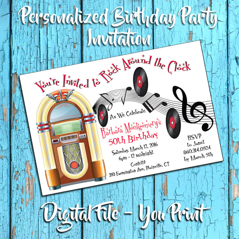 Printable 50s Theme Personalized Birthday Party Invitation Juke Box