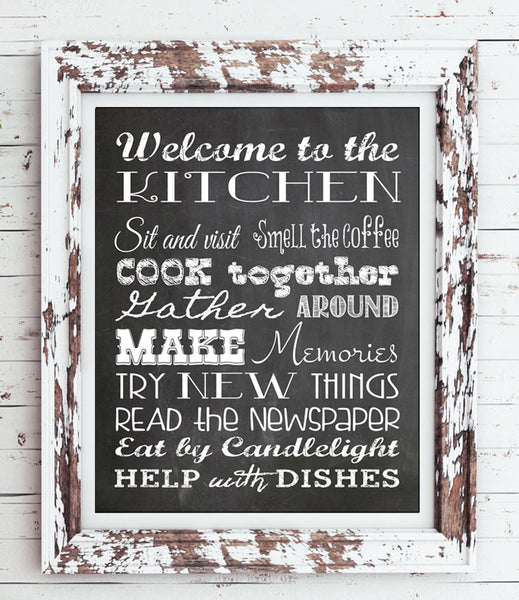 KITCHEN RULES 8x10 Typography Art Print, Rustic Look Faux Chalkboard - J & S Graphics