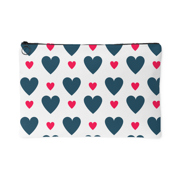 Blue and Pink Hearts Accessory Pouch - 2 Sizes to choose from - J & S Graphics