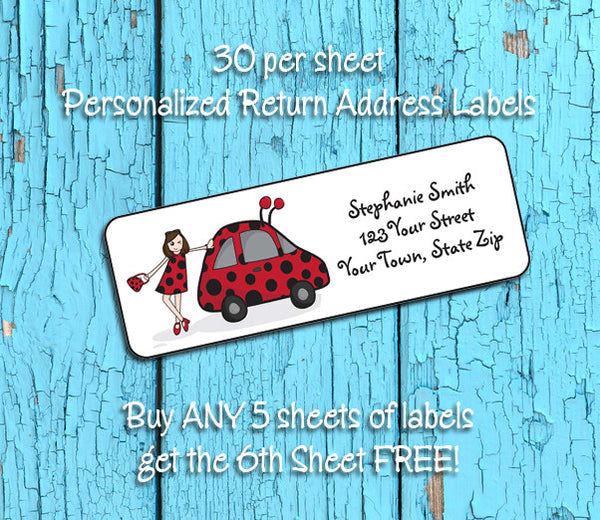 personalized lady buggy return address labels red and black vw bug
