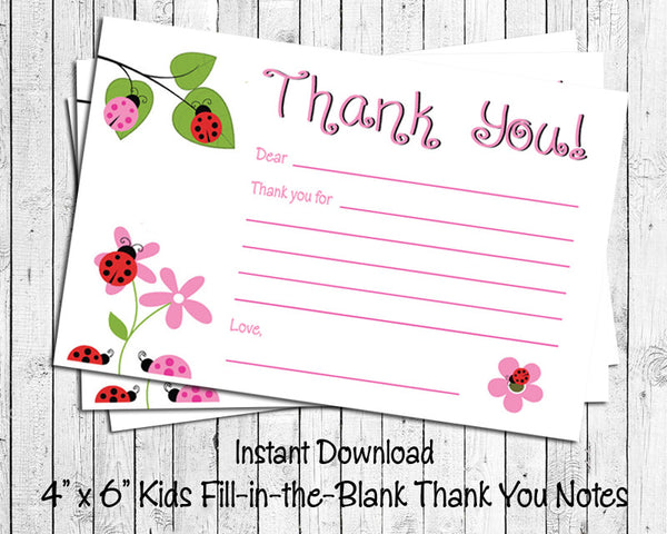 Children's THANK YOU Note CARDS, Digital Printable, Ladybugs - J & S Graphics
