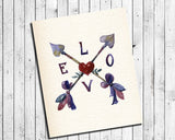 LOVE ARROWS, Hearts and Arrow Design 8x10 INSTANT DOWNLOAD Wall Decor, - J & S Graphics