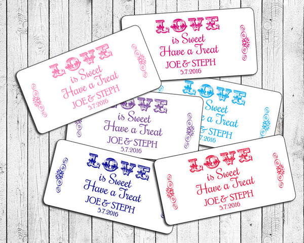 "Personalized WEDDING Favor LABELS 2"" x 4"", Love is Sweet - J & S Graphics"