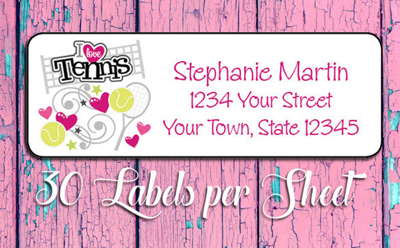 Personalized I LOVE TENNIS Return ADDRESS Labels - J & S Graphics