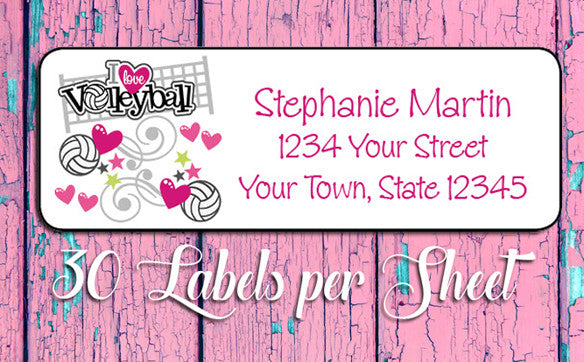 Personalized I LOVE VOLLEYBALL Return ADDRESS Labels - J & S Graphics