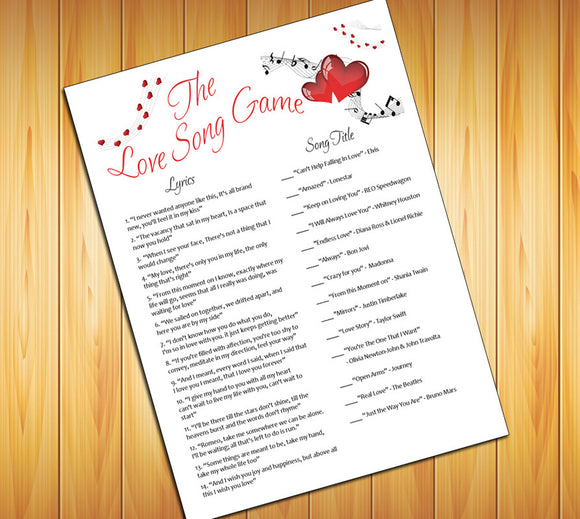 LOVE SONG Shower GAME - Instant Download - Bridal / Wedding Shower Game - Bachelorette Party Game - Any Party Game - Hearts Design - J & S Graphics