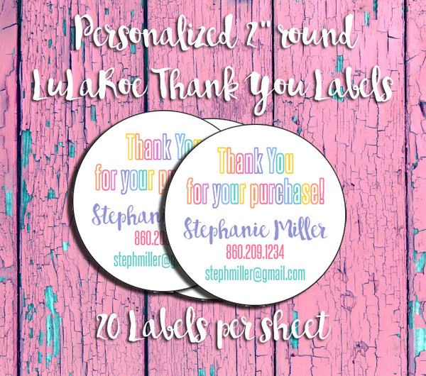 Personalized LuLaRoe Round Thank You Labels - J & S Graphics
