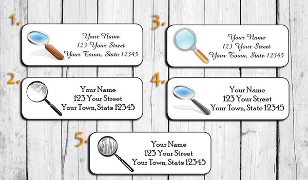 Personalized Magnifying Glass Return Address Labels, Detective, Sherlock Holmes