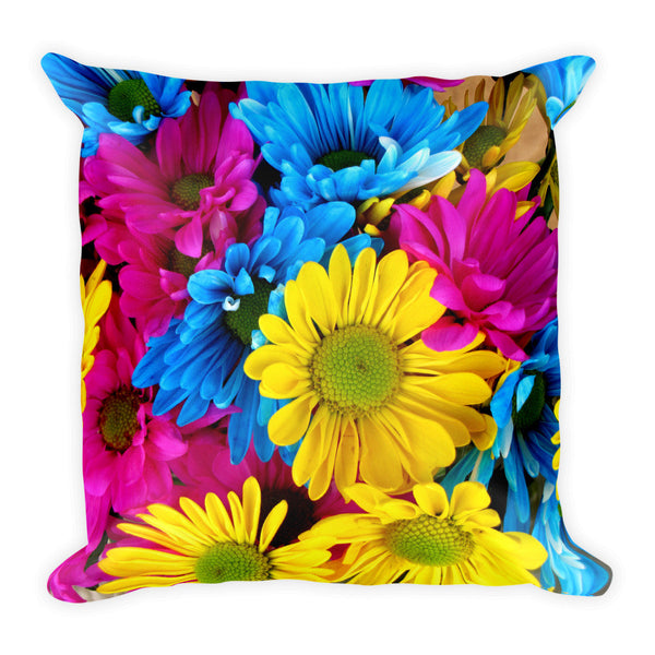 "All Over Colorful Daisies 18"" Square Pillow"