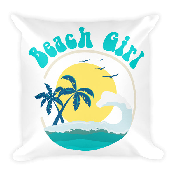 "Beach Girl Tropical Island Palm Tree Design 18"" Square Pillow - J & S Graphics"