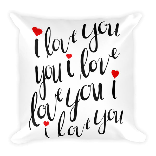"I Love You 18"" Square Pillow"