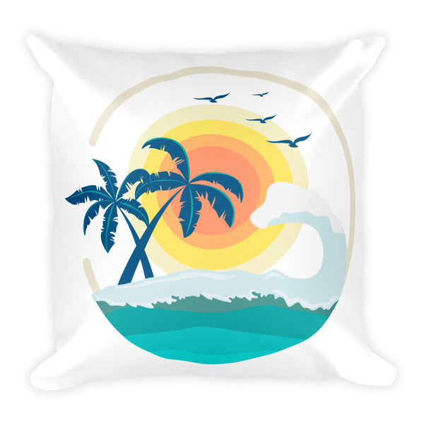 "Tropical Island with Palm Trees and Ocean 18"" Square Pillow"