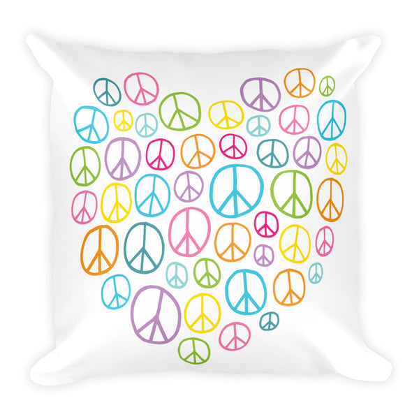 "Heart of Peace 18"" Square Pillow - J & S Graphics"