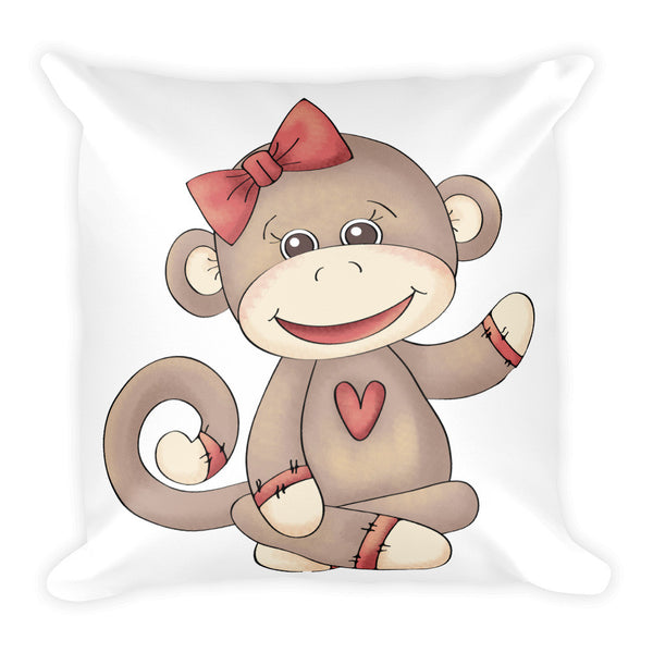 "Baby Girl Sock Monkey 18"" Square Pillow - J & S Graphics"