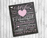 Mom, Mother Love Typography 8x10 Wall Art PRINT Gift - J & S Graphics