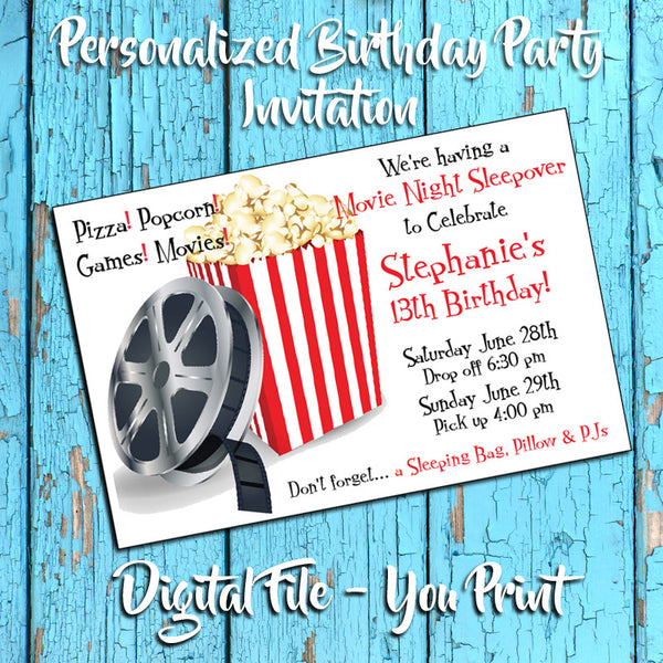Printable MOVIE Theme Personalized Birthday Party Invitation Sleepover