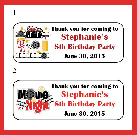 Personalized MOVIE NIGHT BIRTHDAY Address Labels, Family Return Address Labels - J & S Graphics