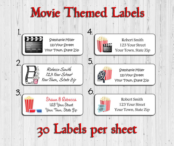 Personalized MOVIE Theme Address Labels, Family Return Address Labels - J & S Graphics