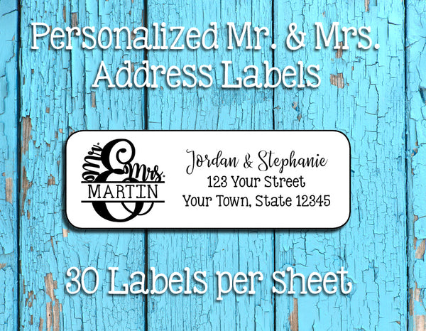 Personalized MR & MRS Address Labels, Return Address Labels, Wedding, Newlyweds