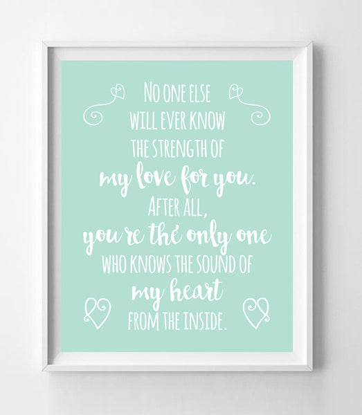 The Sound of My Heart from the Inside Nursery 8x10 Wall Art Decor PRINT Mint Color