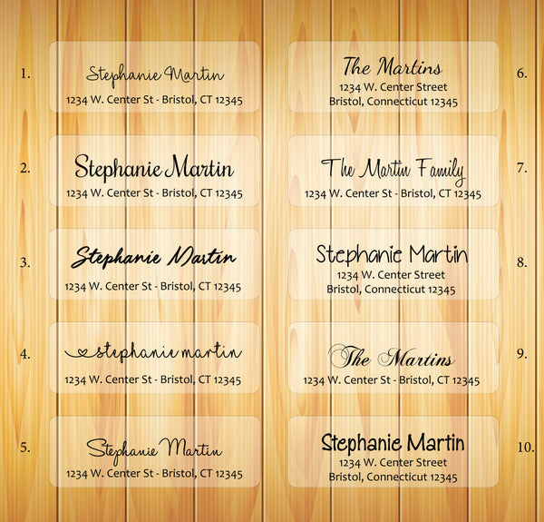 CLEAR Personalized Address Labels, Return Address Labels, Family Name 2, Sets of 30 - J & S Graphics