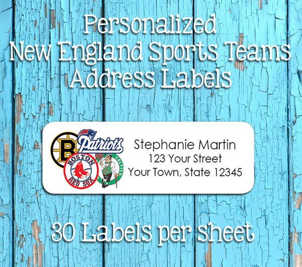 Personalized New England Sports Return Address Labels, Boston Teams Sox, Pats, Bruins, Celtics - J & S Graphics