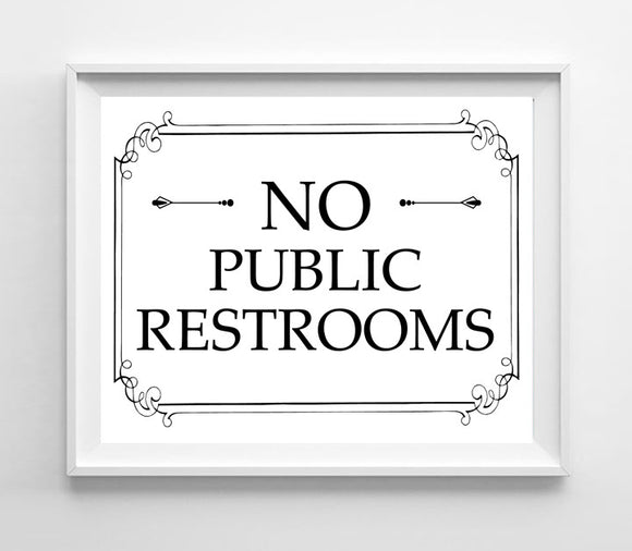 Printable 8x10 No Public Restroom Instant Download Sign for Business - J & S Graphics