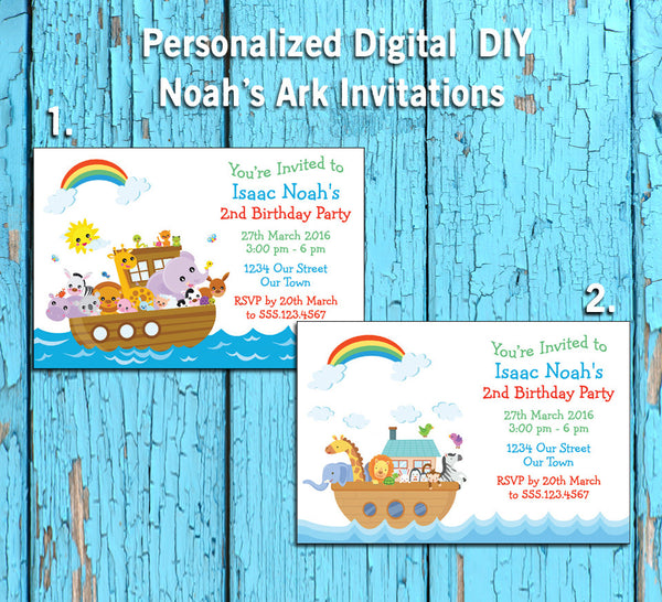 Printable NOAH'S ARK Theme Birthday Party Invitation, Personalized DIGITAL FILE - J & S Graphics