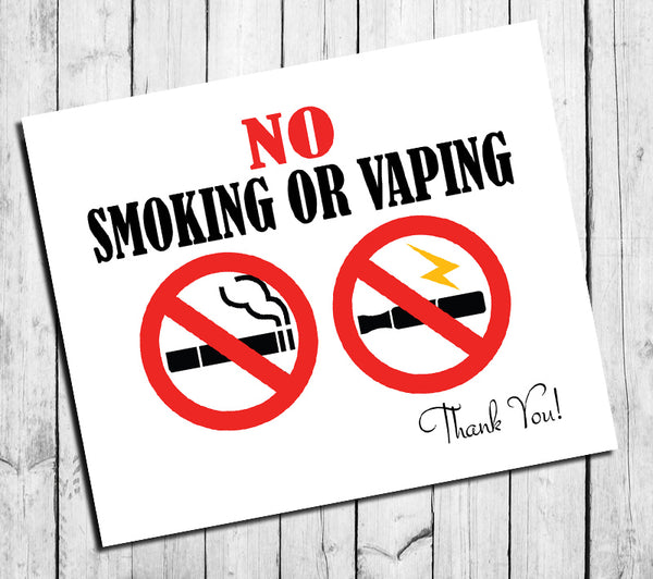 Business Sign 8x10 Instant Download No SMOKING No VAPING Instant download sign - J & S Graphics