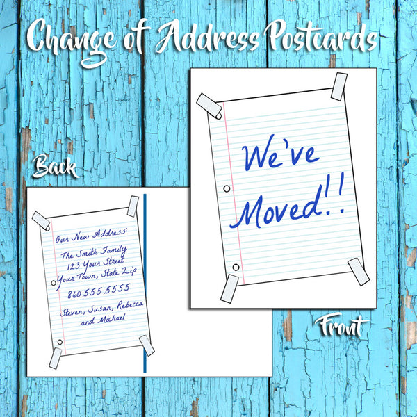 Personalized Change of Address Postcard - Notebook Paper Design - Printed Option - J & S Graphics