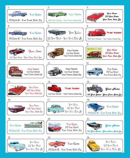Personalized Old CLASSIC CARS Return Address Labels - 30 labels per sheet - J & S Graphics