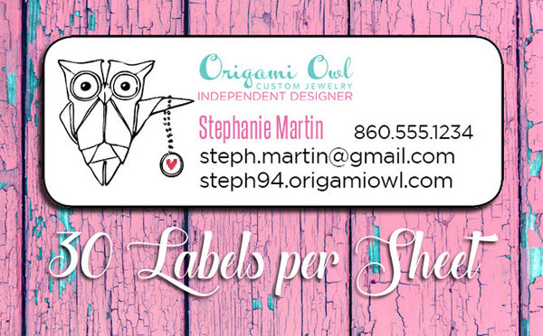 Personalized ORIGAMI OWL Catalog Labels or Address Labels, Home Parties - J & S Graphics