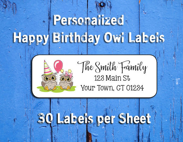 BIRTHDAY OWL Personalized Return ADDRESS Labels - J & S Graphics