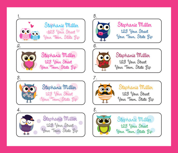 Personalized OWL Address LABELS Colorful Owls Return Address Labels - J & S Graphics