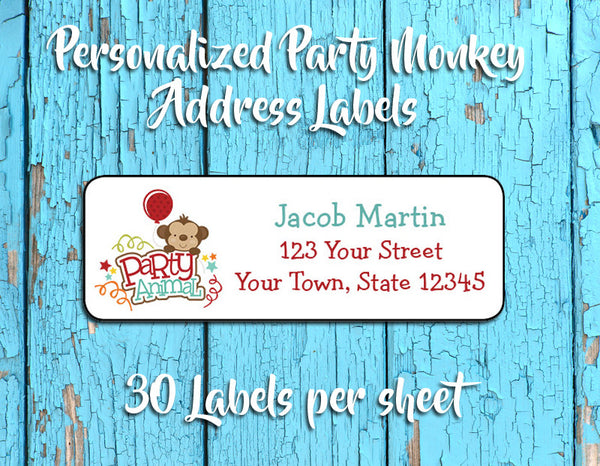 MONKEY BIRTHDAY Address Labels, PARTY ANIMAL Personalized Return Address Labels