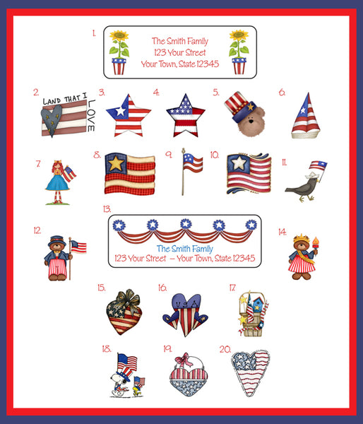 American Flag PATRIOTIC Designs Personalized Return Address Labels - J & S Graphics