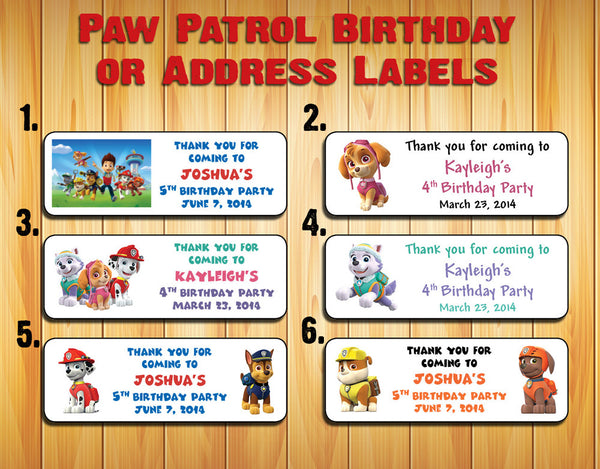 PAW PATROL Birthday Party Labels for Mini Bubbles, Favors or Address