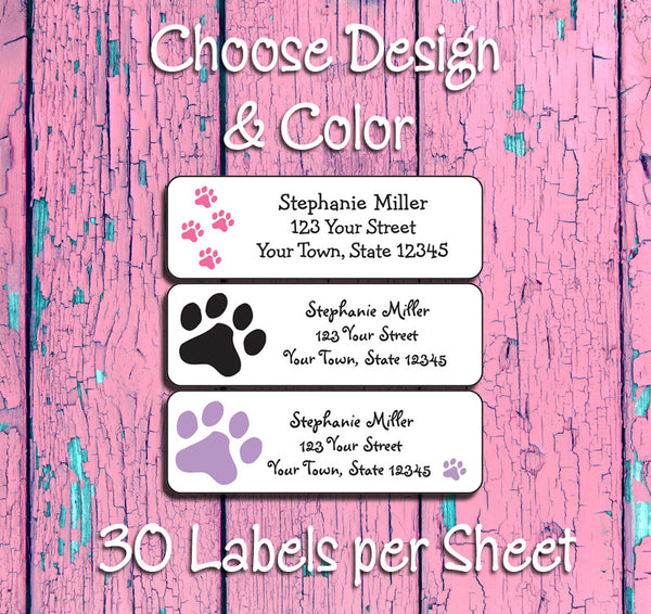 Personalized PAW PRINTS, Dog and Cat Return ADDRESS Labels - J & S Graphics