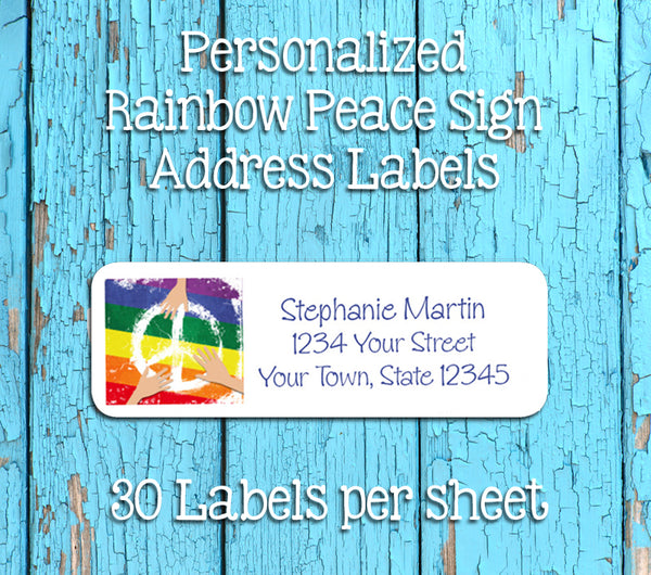 Personalized RAINBOW PEACE SIGN with Hands Design Return ADDRESS Labels